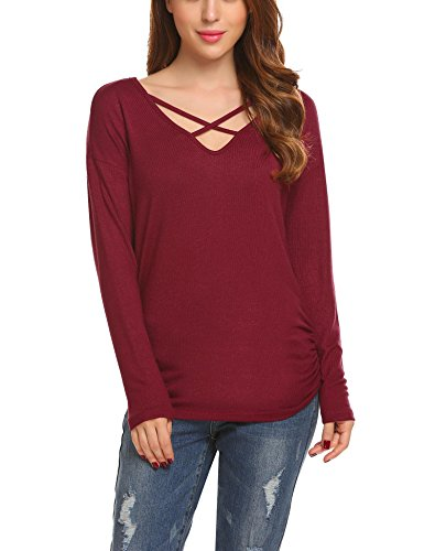 Unibelle Damen Sweatshirt Herbst V-Ausschnitt Kordelzug Streifen langarm Oberseiten T-Shirt Bluse Sweatshirt Tops Weinrot L (V-ausschnitt Kordelzug)