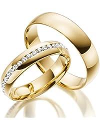 2 x 333 Trauringe Vollkranz Gelbgold Eheringe Massiv Gold Hochwertige Verarbeitung LM.07.333.GG