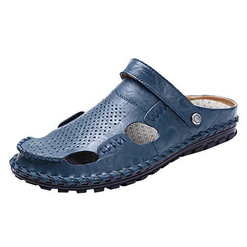 YWLINK Hombres Verano Sandalias Antideslizantes De Gran TamañO Zapatos De Estilo Perezoso De Playa Zapatos Casuales Zapatos Caseros Zapatillas Baotou CóModo Viajes Al Aire Libre Deportes(Azul,42EU)