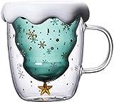 Tazza da caffè in Vetro di Natale, 300 ml Tazze di Vetro per Albero di Natale con Doppio Isolamento per Bevande Calde e Fredde tè, caffè Espresso, Cappuccino