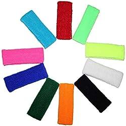 Kurtzy Multipack 10 Cintas para la Cabeza Cintas para Sudor Deportes para Hombres, Mujeres y Niños - Cintas Elásticas para Deportes, Ciclismo, Gimnasia y Atletismo - Colores Brillantes