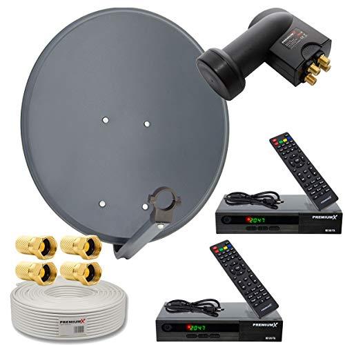 SAT Anlage für 2 Teilnehmer 60cm Schüssel mit Twin LNB 0,1dB + 25m Koax Kabel + 2X Digital HDTV DVB-S2 Receiver inkl. HDMI-Kabel + 4X F-Stecker ()