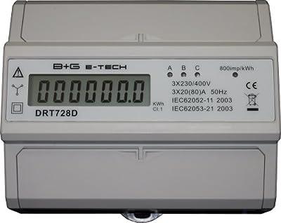 B+G E-Tech DRT728D - digitaler Stromzähler Drehstromzähler Wattmeter für DIN Hutschiene 3x20(80)A LCD S0 von B+G E-Tech auf Lampenhans.de