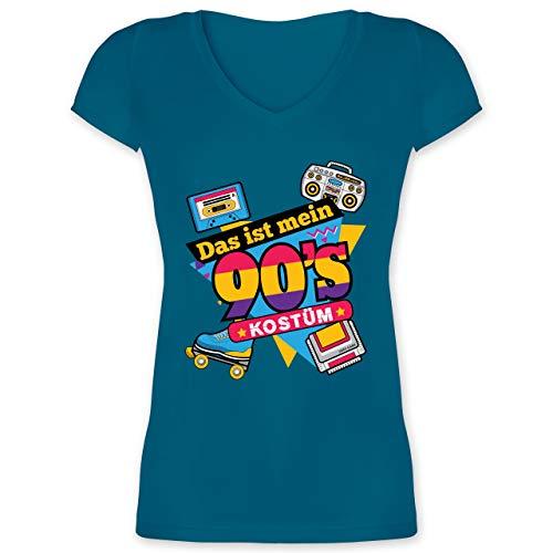 Karneval & Fasching - Das ist Mein 90er Jahre Kostüm - L - Türkis - XO1525 - Damen T-Shirt mit V-Ausschnitt