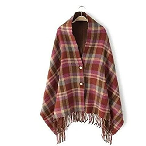 Butterme Women's Vintage Winter Warm Cashmere Plaid Hooded Cloak Poncho Blanket Cape Shawl Scarf Cardigan with Button and Tassel
