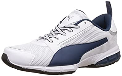 Puma Men's Puma White, Blue Wing Teal and Puma Silver Running Shoes - 10 UK/India (44.5 EU)