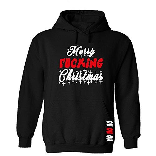 Druckstelle PMS Merry Fucking Christmas Stars Hoodie Sweatshirt Pullover Fun Schwarz (M)