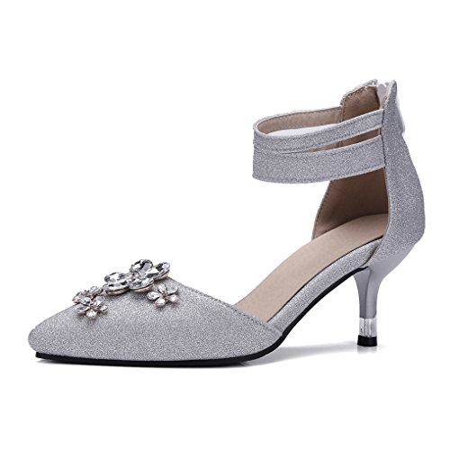 d460285540b3f Escarpins Argent Strass Talon Pointu Femme Oaleen Sandales Cheville  Chaussures Moyen Bout Mode Bride aPE5wwxXq ...