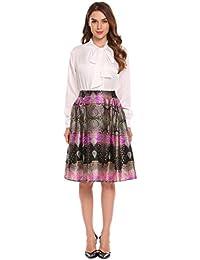 Keland Falda Plisada Estampado Floral Falda de Playa Cintura Alta Vestidos  Mujeres 047f023a7587
