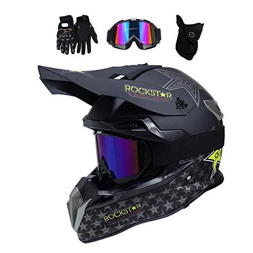 MRDEAR Motocross Helm mit Brille (4 Stück/Rockstar) Downhill Helm Motorrad Crosshelm Herren Damen Cross Fullface MTB Helm Mopedhelm Motorradhelm für Sicherheit Schutz, 3 Arten,A,XL