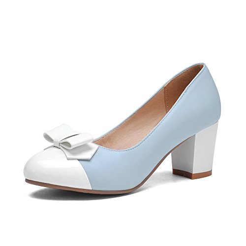 balamasa Mesdames couleurs assorties High-Heels imitation cuir pumps-shoes Bleu