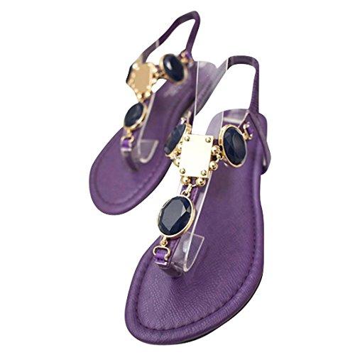 jeansian Moda Donna Gemstone Boemia Spiaggia Sandali Sandals WSB001 Purple & Blue 35
