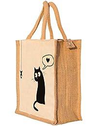 Nisol Cat Love Fish Classic Printed Lunch Bag | Tote | Hand Bag | Travel Bag | Gift Bag | Jute Bag