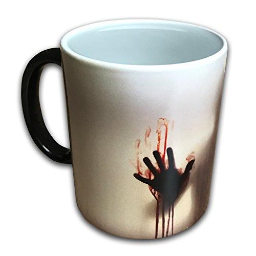 Orama MUG1051 Custom 'Tassen, The Walking Dead Kaffee Tee Milch Hot Cold wärmeempfindliche Farbwechsel Tasse, Keramik, schwarz, 12.5 cm