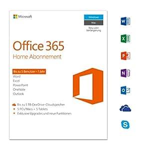 Microsoft Office 365 Home multilingual   5 Geräte   1 Jahresabonnement   PC/Mac   Download