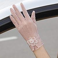 Shoutao - Guantes de protección solar para mujer, protección UV, guantes de seda para mujer, guantes finos de primavera y otoño, color rosado, tamaño talla única
