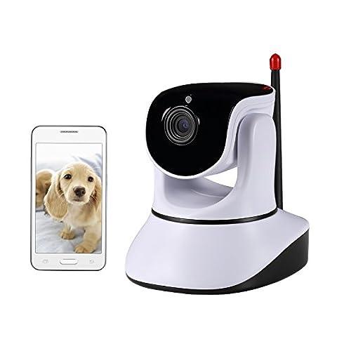 Nexgadget IP Caméra de surveillance WiFi à détection de mouvements, vision nocturne intégrée, haut-parleur, microphone P2P Pan Tilt, moniteur compatible avec smartphone iOS et Android