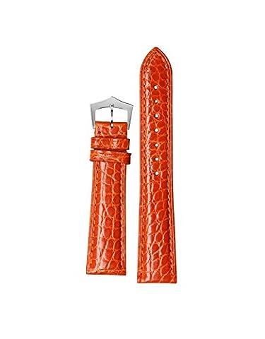 14mm Orange helles Luxus-Alligatorprägung Prägung Lederarmband Armband für Mädchen Skalen