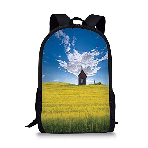 se Decor,Traditional Red Scandinavian Summerhouse in Yellow Oat Field Nordic Tranquility Theme,White Blue for Boys&Girls Mens Sport Daypack ()