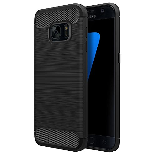 [Neue Version]Galaxy S7 Hülle Schwarz,Simpeak Premium Weiche Karbonfaser Elastisch Schützendes Rückseiten-Case für Samsung Galaxy S7 [Fallschutz] [Rutschfest] - 2 Frauen Für Case Samsung Galaxy