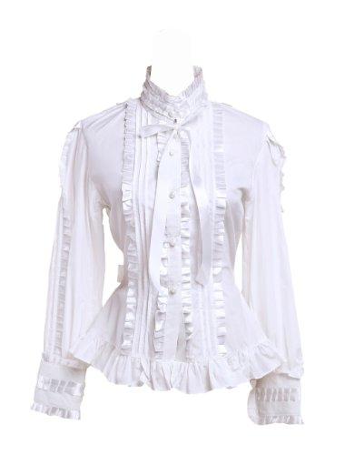 nuovo stile cc40f afcfa an*tai*na* Camicia Tradizionale Lolita vittoriana in Cotone Bianco con  Arricciatura in Pizzo e Cravatta e Collo Alto