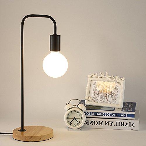 Modern Einfache Harz Eisen Tischleuchte Persönlichkeit Kreative Arbeitszimmer Tischleuchten Passend Schlafzimmer Restaurant Loft Tischlampe 40W E27 Glühbirne (schwarz)
