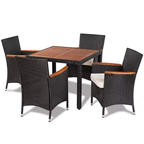 mewmewcat Rattan Sitzgruppe Essgruppe Rattan Set Sitzgarnitur Gartengarnitur aus Tisch + 4 Stühlen Schwarz