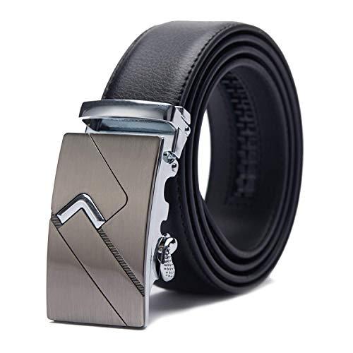 TANGCHAO Cinturón Hombre Cuero, Cinturon con Hebilla Automática Cinturones de Trinquete 35mm de Ancho Negro 5-HEI-ZD 145CM