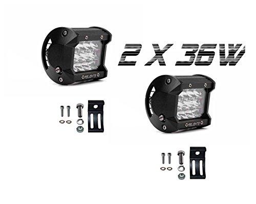 Faros led 12v 4x4 antiniebla largo alcance RSLIGHTS -impermeables, alta potencia- Focos de trabajo para moto, coche, tractor, quad [Nueva válvula anticondensación]2 años garantía.2x36W.Cree chips