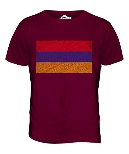CandyMix Armenien Kritzelte Flagge Herren T Shirt Burgunderrot