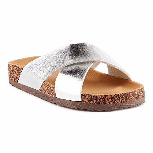 Fusskleidung Damen Sandalen Lack Glitzer Komfort Sandaletten Metallic Schlappen Zehentrenner Hausschuhe Pantoletten Berlin-Silber EU 39