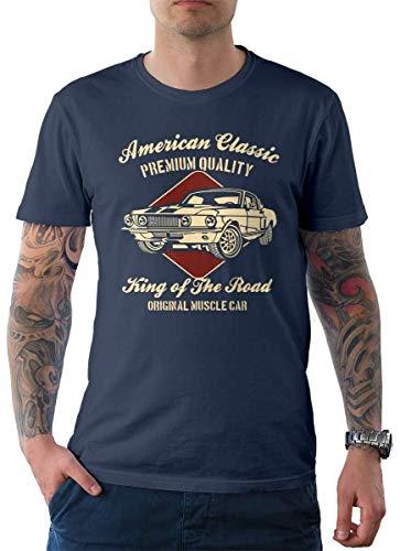 Rebel on Wheels American Classics Herren T-Shirt Tee Denim S (Classic American Tee)