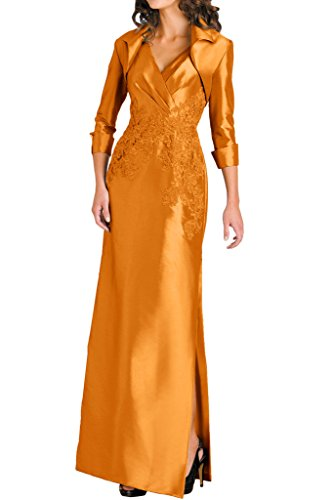 Gorgeous Bride Hochwetig V-Ausschnitte Traeger Lang Taft Spitze Abendkleider Festkleider Ballkleider Orange