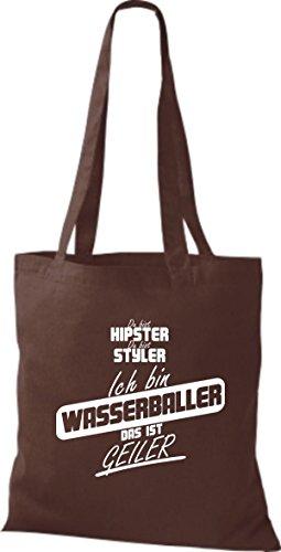 Shirtstown Stoffbeutel du bist hipster du bist styler ich bin Wasserballer das ist geiler braun