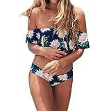 Yvelands Damen Bademode Gepolsterter Push Up-BH für Damen mit hoher Taille und Badeanzug Bikini Set(CN-M,Grün)
