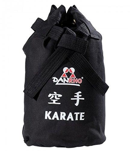 DANRHO KARATE CANVAS KINDER Sack Tasche Sporttasche Karatetasche Trainingstasche Rucksack Rucksacktasche Kids 226018050 Turnbeutel Seesack schwarz Budo Kampfsport KWON (Karate Tasche Schwere)