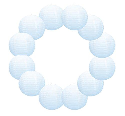 YOKARTA 12er Set Papier-Laternen Deko-Lampions weiß rund 30 cm groß | Schöne Hochzeit-Deko, Party-Deko, Geburtstag-Deko Lampenschirme Dekoration Weiss