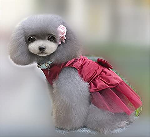 Pet dog skirt Teddy Poodle Cat Little Princess Pompon Skirt clothes (S, deep red)
