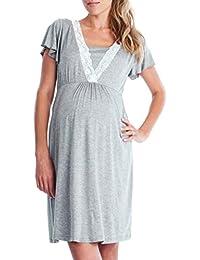 Gusspower Vestido de Lactancia Maternidad de Noche Camisón Mujeres Embarazadas Ropa de Dormir Premamá Pijama Verano Encaje