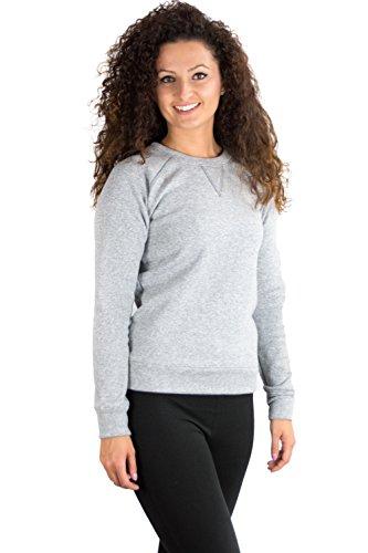 Damen casual Sweatshirt aus hochwertigem und kuscheligem Material made in EU Grau