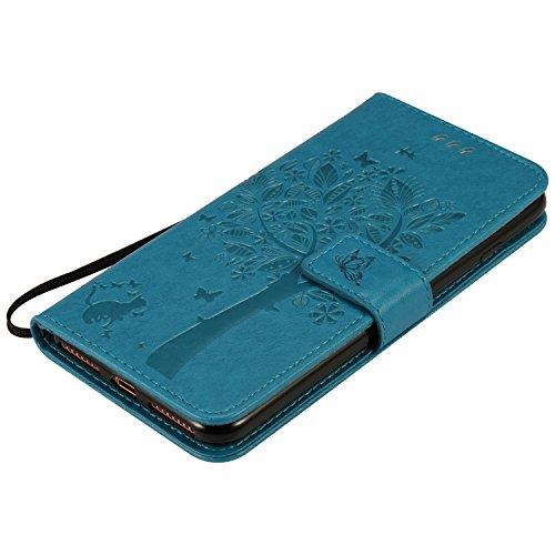 OuDu iPhone 7 Hülle, Baum&Schmetterling Impressum Muster Etui für iPhone 7 PU Leder Handyhülle Klapp Buch-Stil Ledertasche Standfunktion Schutzhülle Flip Wallet Case mit Magnetverschluss & Kartensteck Blau
