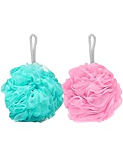 FABSKIN Luxury Bathing Round Loofah for Men and Women (Couples Pack of 2, Assorted Colors)