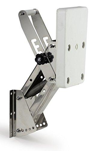 Motorhalter Motorhalterung Boot Außenborder bis 25 PS 4 Positionen Edelstahl Kunstoff weiß