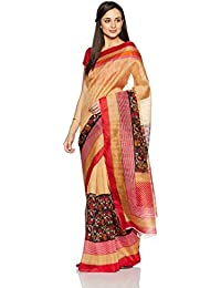Womanista Women's Printed Art Silk Sari With Blouse Piece(FSP405_Beige And Black_Free Size)