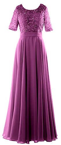 MACloth Elegant Half Sleeve Long Mother of Bride Dress Lace Formal Evening Gown Sangria