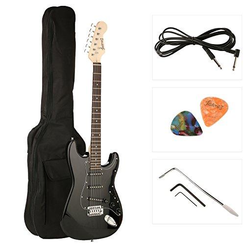 Juarez JRZ-ST01, 6 Strings Electric Guitar, Right Handed with Case/Bag & 2X Picks (Full Black)