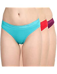 NOHUNT Women's Organic Cotton Hipster Plain Panty (Multicolour, Large) - Pack of 3