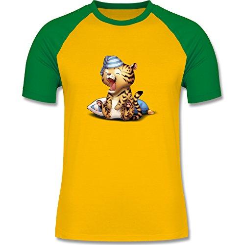 Wildnis - Gähnender Leopard - zweifarbiges Baseballshirt für Männer Gelb/Grün