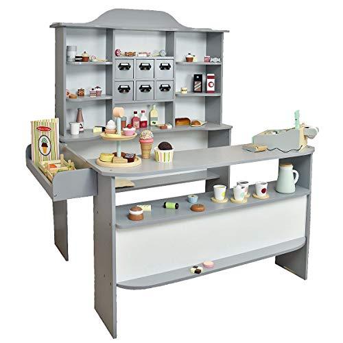 Roba-Baumann Kaufladen Heaven aus Holz - großer und Stabiler Kaufmannsladen in grau/ Weiss