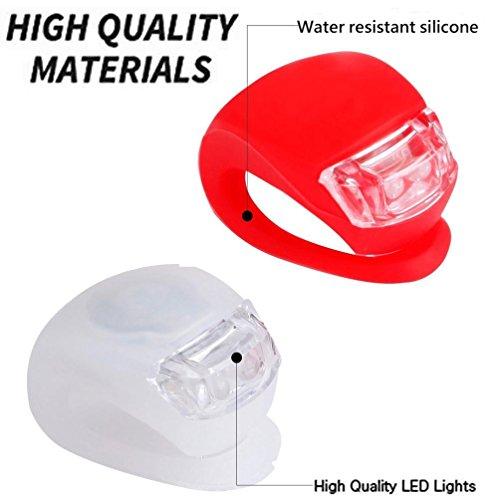 Silikon Fahrradlicht LED Lampensets, Gusspower Mini Silikonleuchtenset LED Clip-On FahrradBeleuchtung, Weiß Scheinwerfer und rotes Rücklicht, Batterien enthalten!
